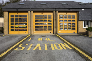 yellow fire station door installation Germantown baltimore county